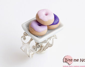 Food Jewelry Mini Donuts on a Plate Ring, Doughnuts Ring, Polymer Clay Sweets, Miniature Food, Kawaii Jewelry, Cute Jewelry