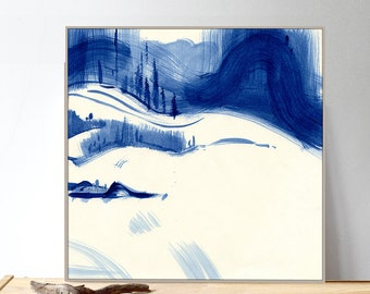 Indigo Blue Peaceful Painting. Indigo Blue Meditative Zen Art. Indigo Blue Mountain Landscape. Peaceful Mimimalist Bedroom Decor
