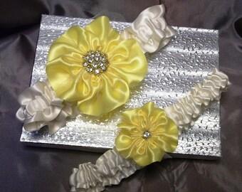 Yellow Bridal Garter Set, Wedding Garter Set in Yellow and Ivory with Rhinestone Center