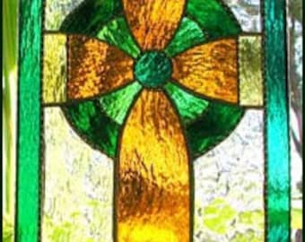 Irish Stained Glass Sun Catcher, Celtic Cross Design, Irish Gift Idea, Stained Glass Cross, Glass Suncatcher, Mother's Day Gift, 9586-GL
