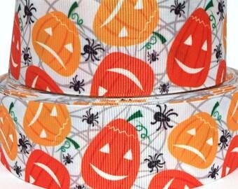 """GROSGRAIN RIBBON 1.5"""" Halloween Pumpkins Spiders Pumpkin H70  Ghost Printed By the Yard"""