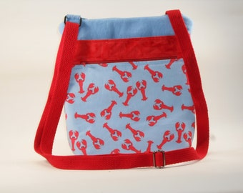 Lightblue Lobster Crossbody Bag