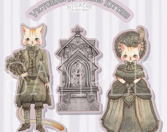 Victorian Mourning Kitties Vinyl Stickers