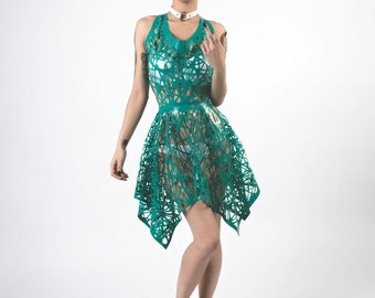 Evie Latex Bird's Nest Mesh Dress with Razorback and Handkerchief Skirt Hem in Teal or ANY Colour