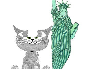 Cat Art Cards- State of New York- Whimsical Cat Art- I Love NY- Statue of Liberty- by beckyzimm