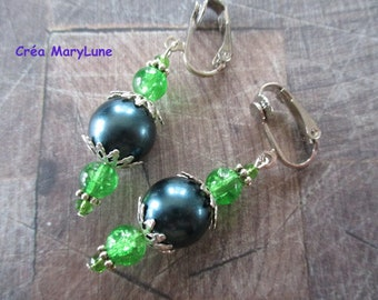 Clip earrings for non pierced silver and green