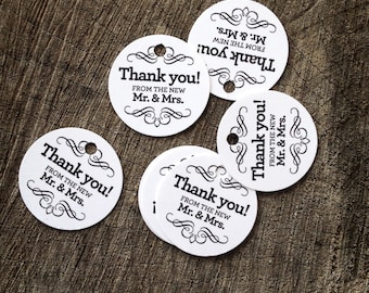 Modern Wedding Favor Tags - Round Thank you tags - Mr and Mrs Wedding Gift Tags - Bridal Shower Tags - Set of 50