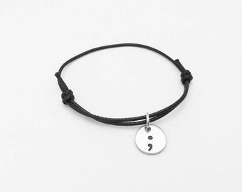 Semicolon Charm Bracelet Black Leather Cord Adjustable