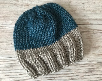 Blue and Silver Chunky Knit Two Tone Beanie