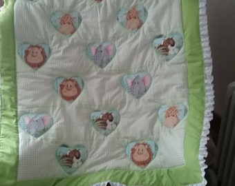 Quilt,greenbaby blanket with toy