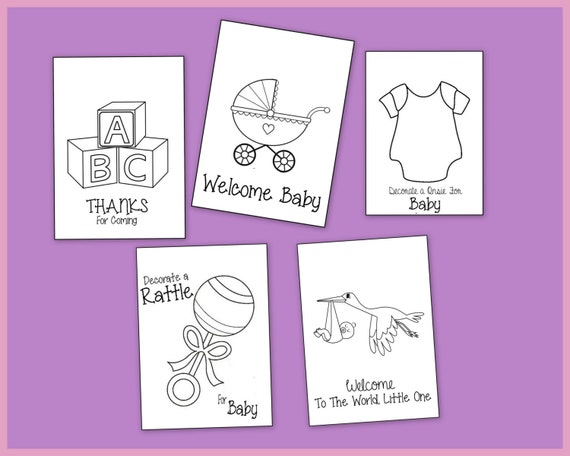 Baby Shower Coloring Book Printable Party Favors or Gifts