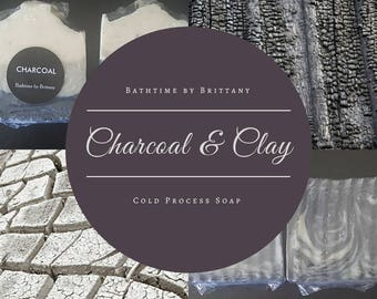 Charcoal & Bentonite Clay Cold Process Soap | Handmade | Artisan | Goat Milk | Vegan | Unscented | Sensitive | Shea Butter | Coconut Oil