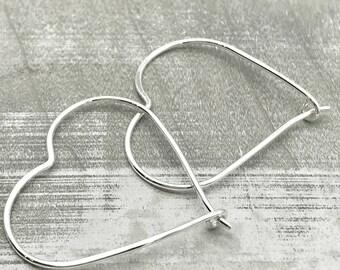 Heart Hoop Earrings - Sterling Silver Hoops - Heart Earrings - Gift - Jewelry Sale