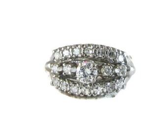 Diamond Wedding Ring, Triple Row Diamond Wedding Ring, Diamond Cocktail Ring, Diamond Dinner Ring, Stacking Ring, Diamond Ring
