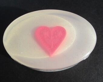 Eingebettete Herz-Seife, funkelnd, Wahl der Duft, Farben, rot, Pink oder Lavendel