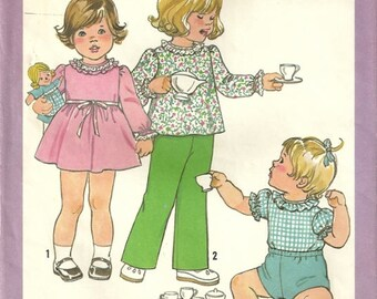 Simplicity 8375 Toddler Vintage 70's Dress Top Pants Shorts Sewing Pattern Size 1/2 - 1  SO CUTE