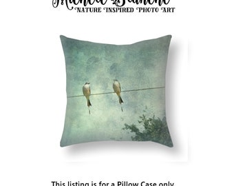 Birds on Wire Photo Pillow, Yellow Birds on Wire Toss Pillow, Scissor Tail Birds Pillow Cover, Blue Green Sky Bird Wire Throw Pillow Cover