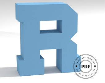 Printable DIY template (PDF).  Letter R low poly paper model template. 3D paper lettering. Origami. Papercraft. Cardboard alphabet.