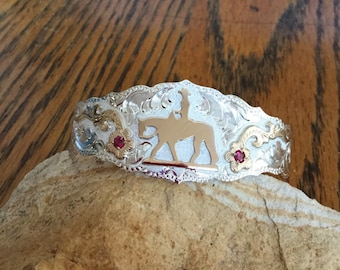 Pleasure horse Cuff Bracelet/ florals with red stones/ Sterling Silver/ Artisan handmade and engraved
