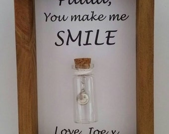 Friend, Girlfriend, Boyfriend, Gift. You make me smile. Can be personalised with names or your own message.