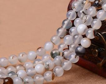 Natural Montana Agate, Natural Stone, Montana Agate Beads, Round Beads, Semi Precious, Gemstone Beads, Agate, 4 6 8 10 12 14 mm, (AB012)