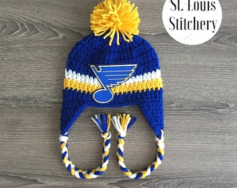 St. Louis Blues Inspired Earflap Hat / Crochet Earflap Hat / Baby Boy Hat / Photo Prop / Sizes Newborn - 5 Years **MADE TO ORDER**
