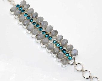 Rainbow Moonstone , Blue Topaz  Quartz Handmade Bracelet