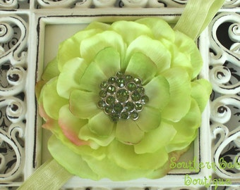 NEW ITEM----Boutique Baby Girl Headband with Rhinestone Rose Flower-------LIME-------Spring Collection