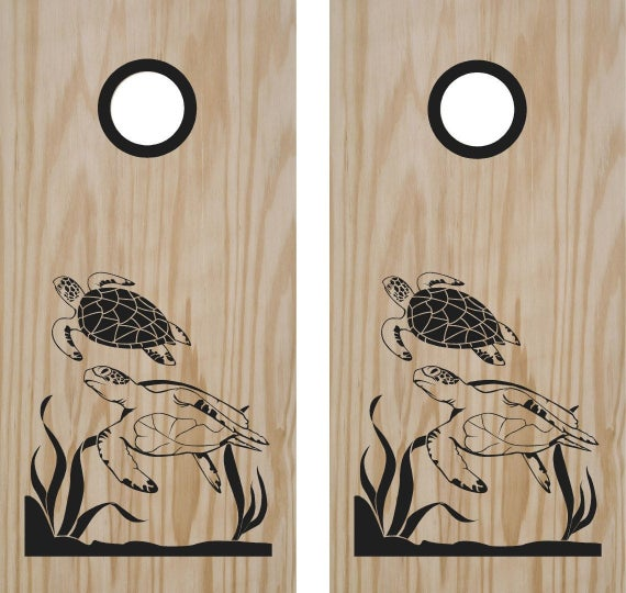 Sea Turtle Ocean Beach Cornhole Board Decals Stickers Bean Bag