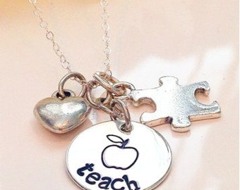 Teacher Necklace-Teacher appreciation gift-Teacher end of school gift