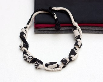 Black and white necklace, textile statement jewelry knitted with bamboo beads, monochrome chunky necklace, OOAK
