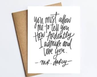 Darcy Quote - NOTECARD - FREE SHIPPING!