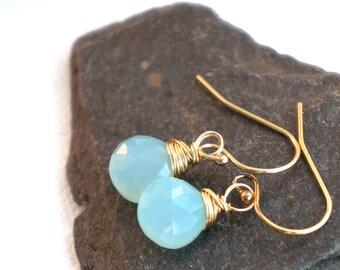 14k gold filled and aqua chalcedony earrings- spring dew earrings