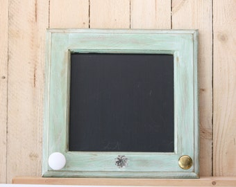 Green Chalkboard from Repurposed Cabinet Doors with 3 Knobs