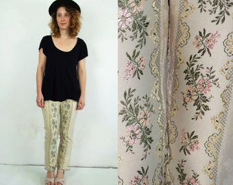 SALE 90's vintage Roccobarocco high waisted beige flower patterned pants