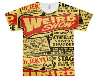 "Cool ""Weird Show"" vintage carnival sideshow all-over design tee shirt.34.99"