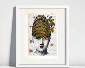 Beehive Print,bee prints,dictionary art print,vintage beehive art,salon wall art,beauty salon decor,honeybee art,bee artwork,bee art #251