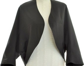 SALE Black Bolero Jacket Cotton Twill Plus Size Lined