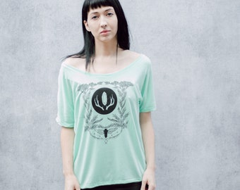 Mint Green Cicada and Yarrow Women's Screen Printed Slouchy Shirt