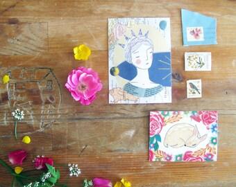 Art Print, Girl & Fawn Mini Print Set