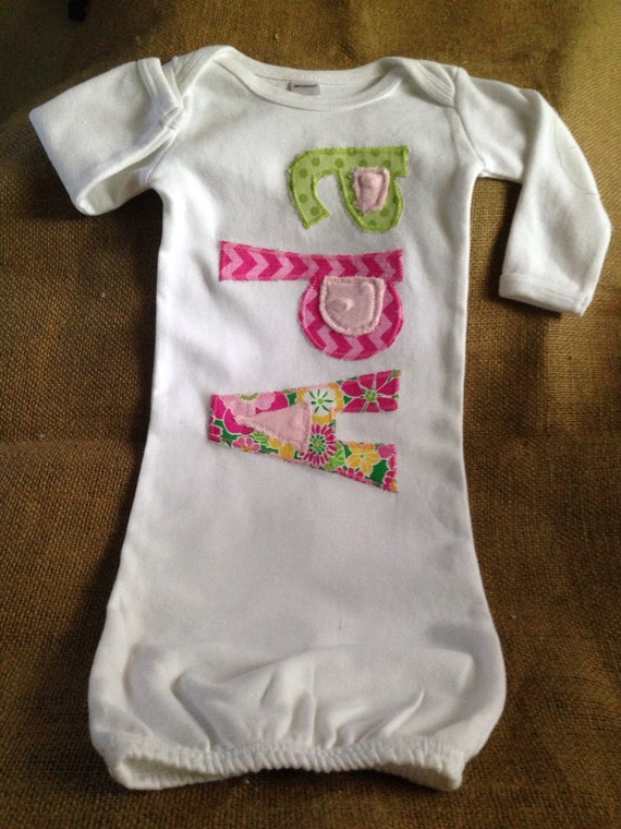 Personalized infant gown applique gown girl layette coming
