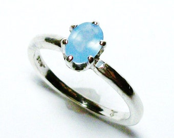 """Blue chalcedony ring, solitaire ring, blue, blue jewelry, teen jewelry,  s 5 """"Powder Puff"""""""