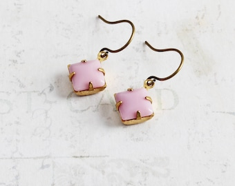Pastel Pink Earrings, Small Rhinestone Earrings on Antiqued Brass Hooks, Light Pink Dangles, Vintage Style Jewelry