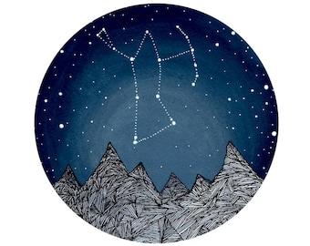 Orion Constellation // Nursery art // Fine Art Print // Orion and the Blue Ridge Mountains