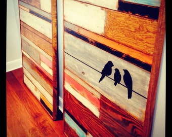 Reclaimed wood wall art, wall hanging, birds on wire,distressed wood mosaic,teal pink orange black white,pallet wall art,barn wood art,large