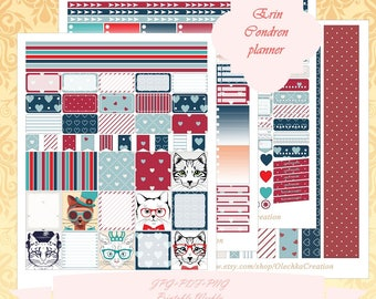 Printable Erin Condren Horizontal planner Weekly kit/ Instant Download / Weekly/ With Cut Files / Cat Hipster