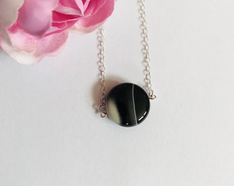 Black stone necklace, black agate bead necklace, workwear jewellery, simple necklaces