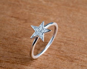 Cz Star Ring , 925 Sterling Silver