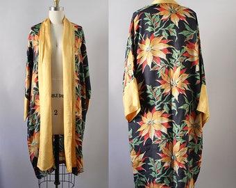 1920s Floral Robe / Vintage Antique 20s 30s Art Deco Kimono