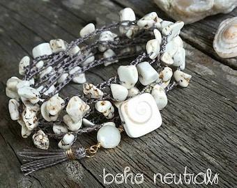 White Turquoise Crochet Beaded Wrap Bracelet, Nature Lover Gift, Boho Neutral Jewelry, Stacking Multi Wrap Around Bracelet, Howlite Nuggets